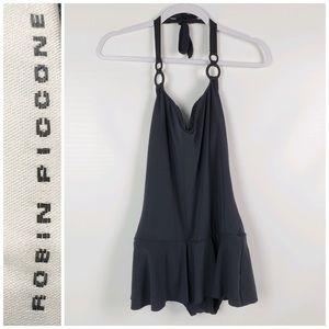 Robin Piccone black halter top swimsuit sz 12